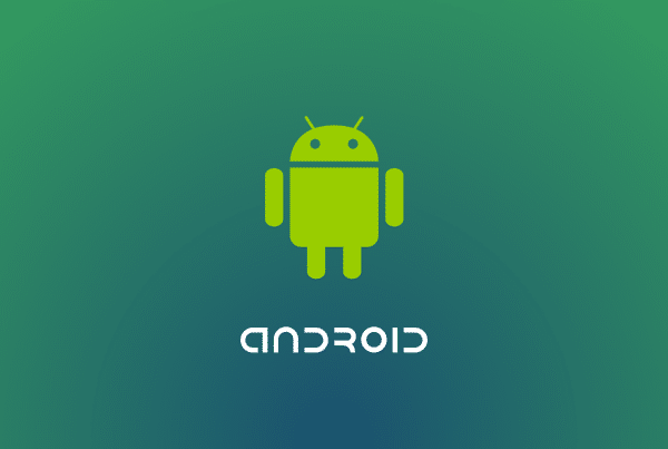 Android Icon on a green blue gradient background.